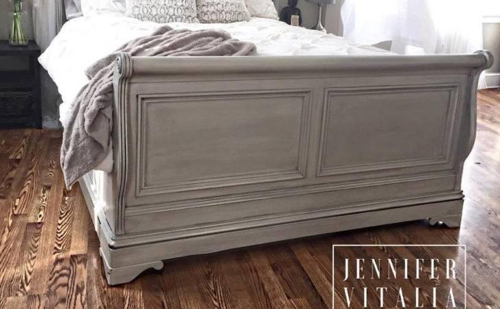 Sleigh Bed Gray Handpainted Custom Orderd