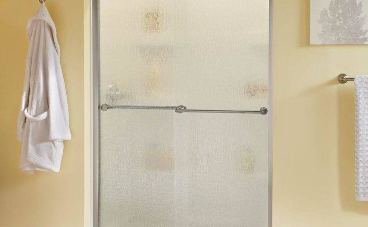 Sliding Shower Door Nickel Rain Glass Home Depot