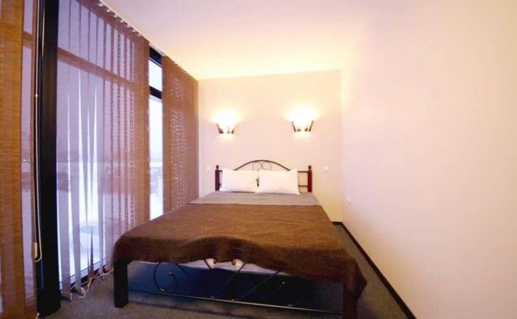 Small Bedroom Double Bed Floor Ceiling Windows