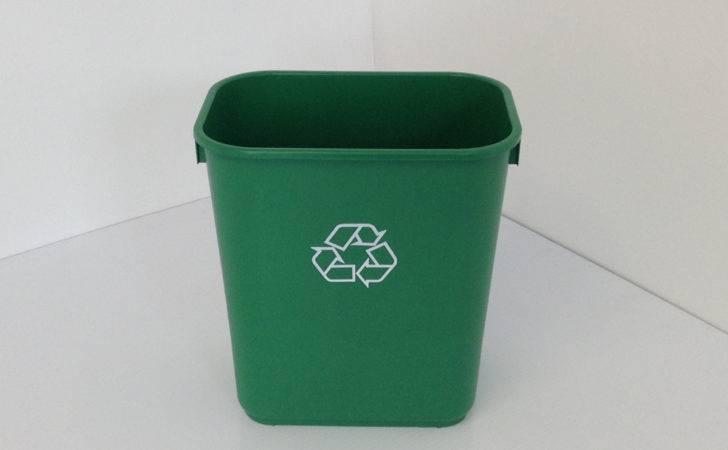 Small Green Office Recycling Bin Soft Plastic Prestige