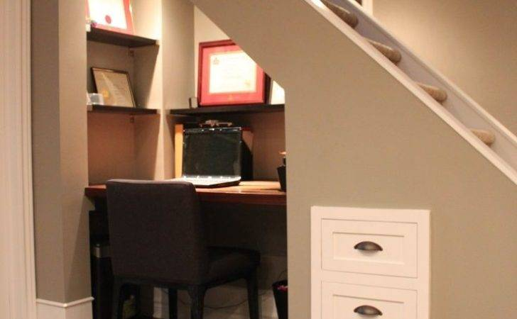 Small Home Office Spaces Under Stairs Wall