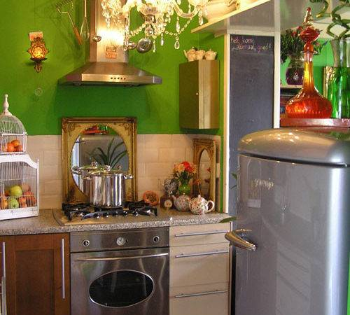 Small Kitchen Green Wall Funky