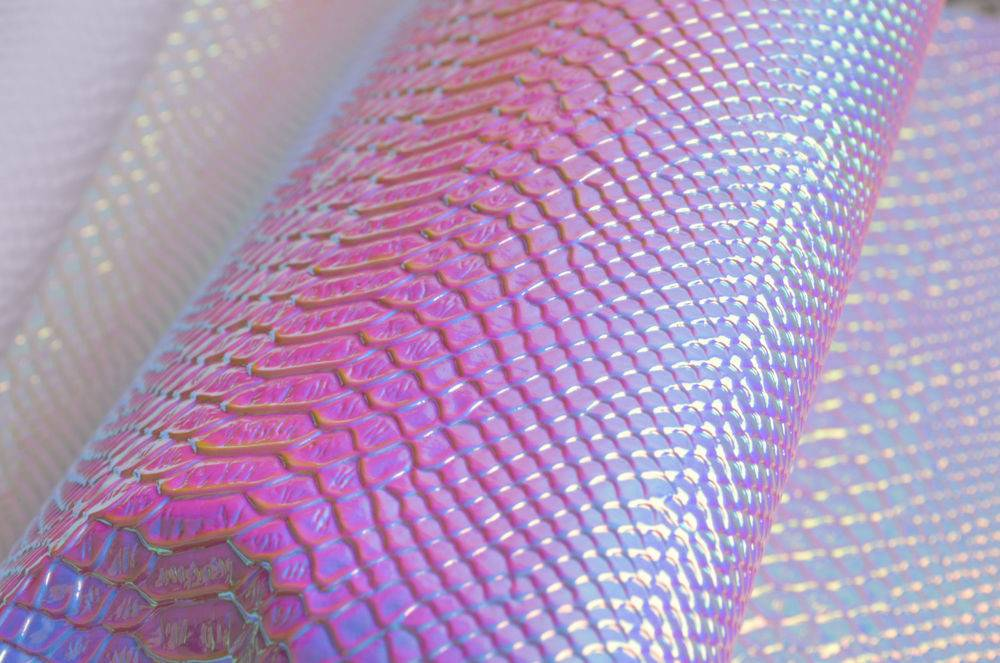 Snake Skin Leather Embossed Holographic Fabric Ebay