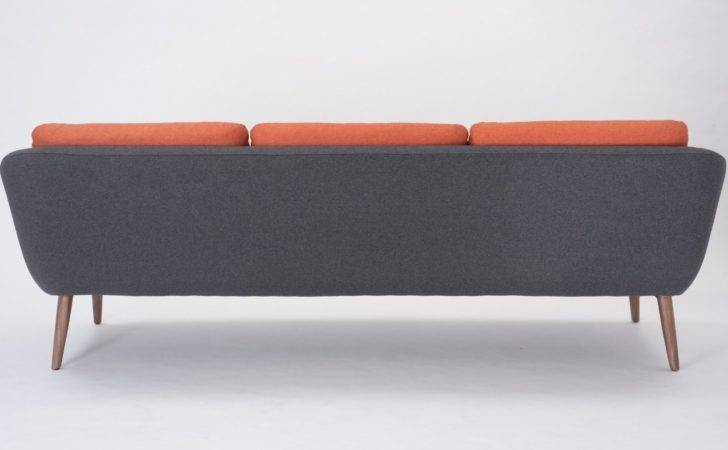Sofa Love Seat Grey Orange Nordic Scandinavian