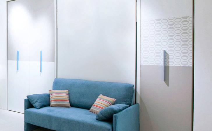Sofa Wall Bed Features Interior Bookshelf System Two Seat