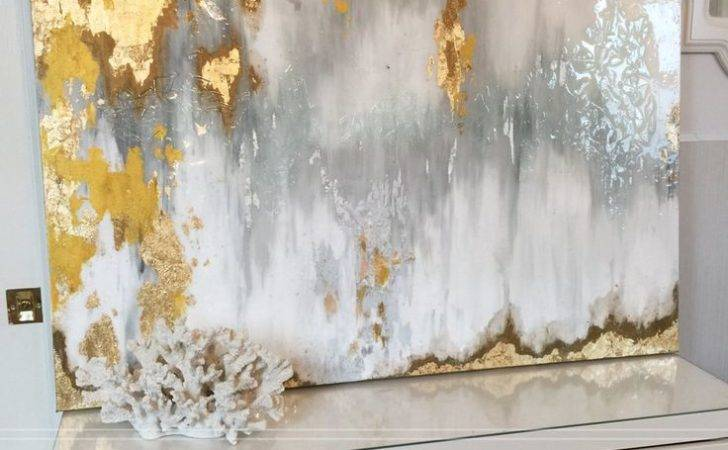 Sold Acrylic Abstract Art Large Canvas Painting Gray Silver Gold