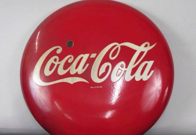 Sold Vintage Coca Cola Button Sign Diameter Coloniaantiques