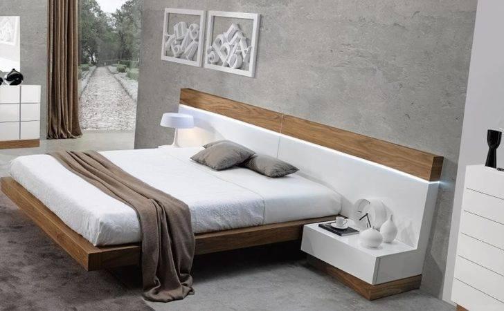 Spain Made Ultra Modern White Walnut Floating Bedroom Set King