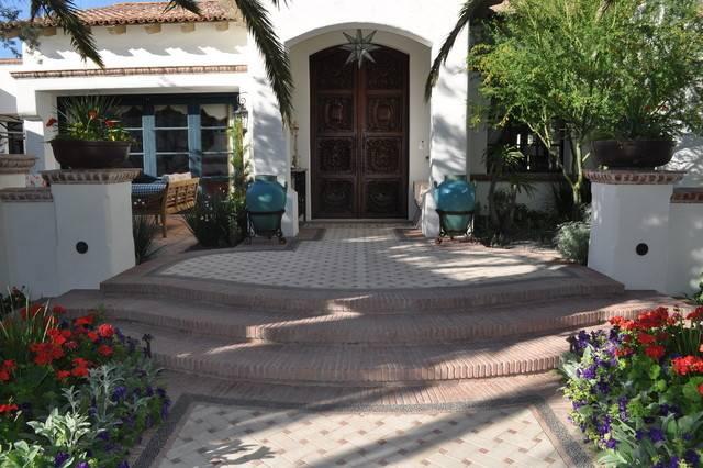 Spanish Style Front Doors Outdoor Rug Porch Mediterranean