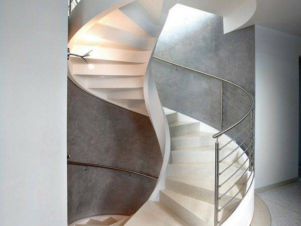 Spiral Stairs White Staircase Modern Marble Concrete