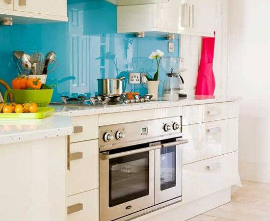 Splash Blue Glass Kitchen Wall Easy Splashbacks