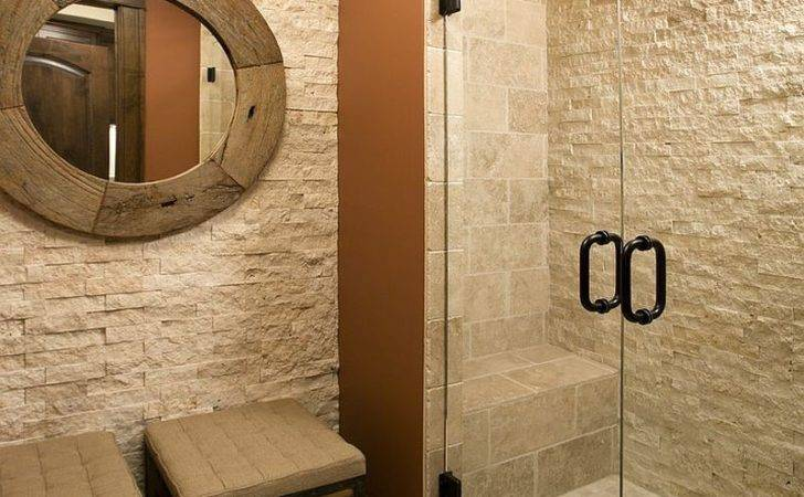 Split Face Stone Shower Elegant Traditional Bathroom