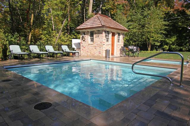 Square Shaped Pool Spa Traditional Chicago