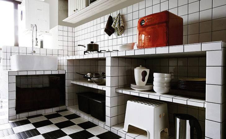 Squares Floor Tiles Bumps Make Stylish Kitchen