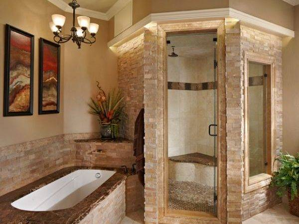 Stacked Stone Steam Shower Looks Classy Elegant