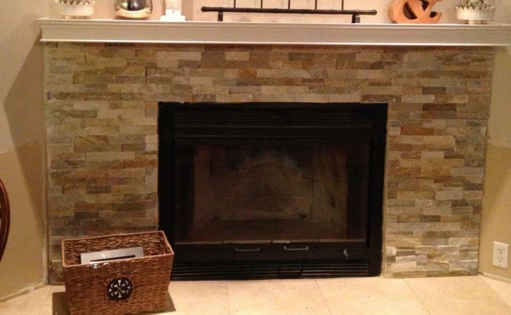 Stacked Stone Veneer Fireplace Diy