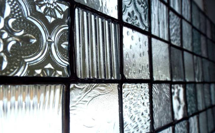 Stained Glass Panel Clear Hand Cut Textured Art