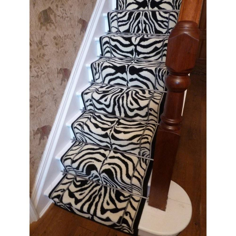 Stair Carpet Runners Zebra Black Animal Print
