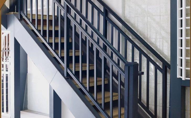 Stair Railing Design Black Color Iron Designs Indian