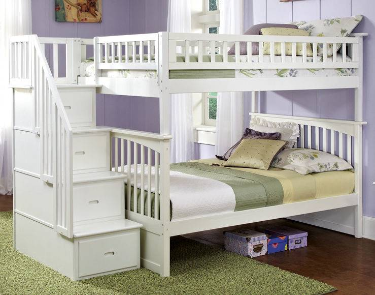 Staircase Bunk Bed Stairs Twin Over Storage Stairway White