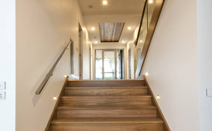 Staircase Glass Balustrade Timber Stainless Steel Handrail Lighting