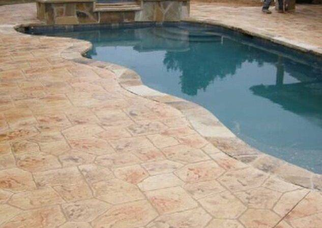 Stamped Concrete Adds Dramatic High End Look Around Pool