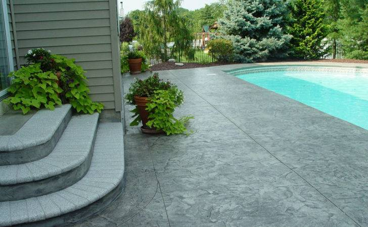 Stamped Concrete Patio Around Pool New Jersey Masonry Contractor