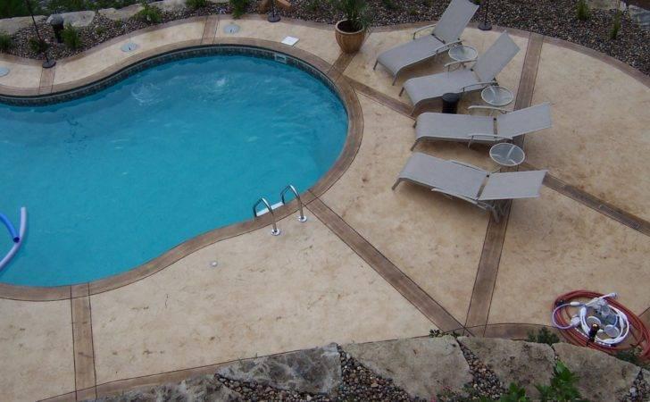 Stamped Concrete Pool Surrounds Scenic Lake Missouri