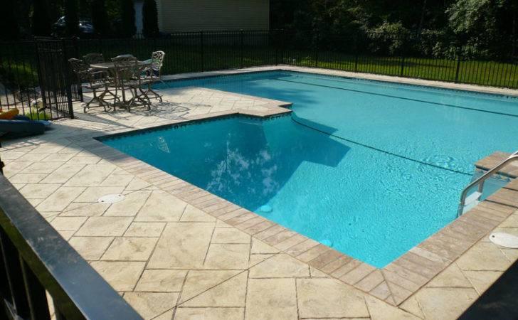 Stamped Custom Pool Deck Brick Coping
