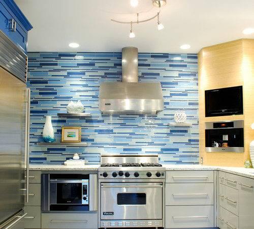 Steel Appliances Blue Backsplash Matchstick Tile