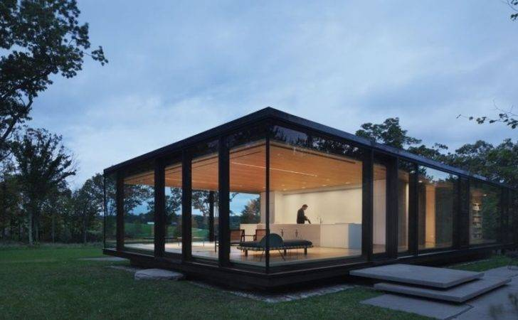 Steel Frame Sustainable Weekend House All Glass Facade
