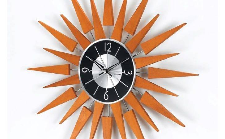 Stilnovo George Nelson Wooden Sunburst Clock