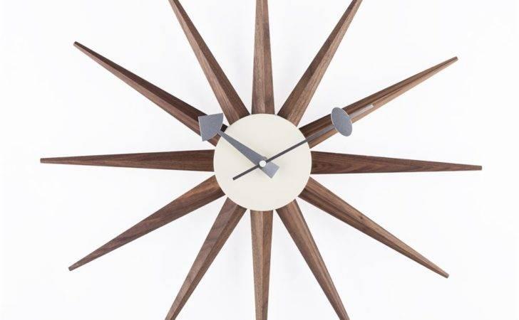 Stilnovo Walnut George Nelson Sunburst Clock Atg Stores