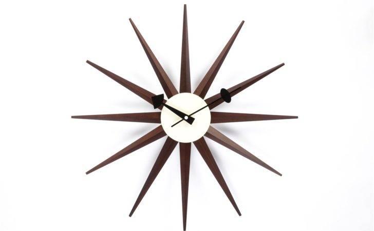 Stilnovo Walnut George Nelson Sunburst Clock
