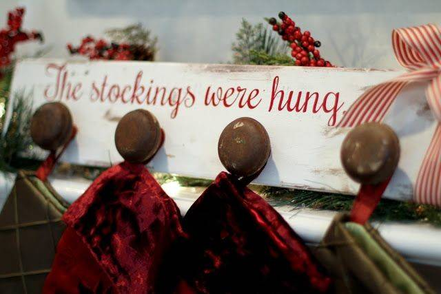 Stockings Were Hung Stocking Holder Out Old Wood Door
