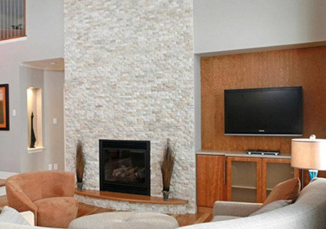 Stone Fireplace Contemporary Living Room New York
