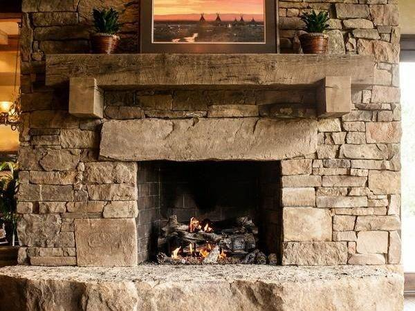 Stone Fireplace Timber Mantle Out Fireplaces Pinterest