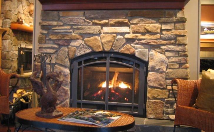 Stone Gas Fireplace Rustic Home Design Cool