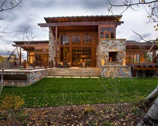 Stone Houses Pinterest House Plans Rustic Contemporary