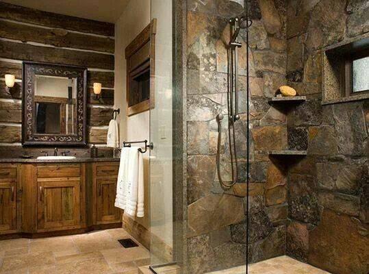 Stone Shower Beautiful Bathroom Design Modern Rustic