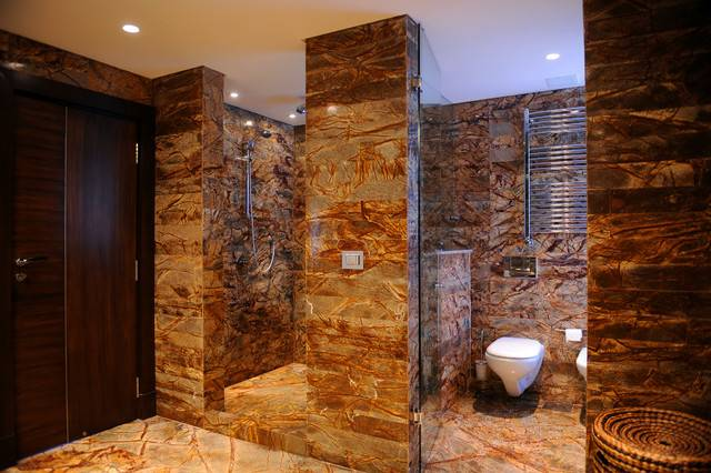 Stone Shower Contemporary Bathroom Recessed Lighting Wall