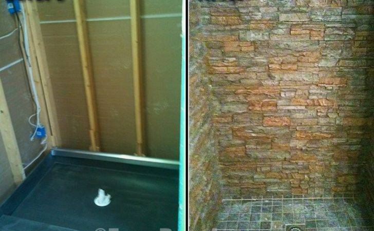 Stone Shower Designs Featuring Faux