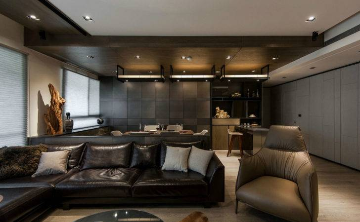 Stone Wood Make Dark Masculine Interior