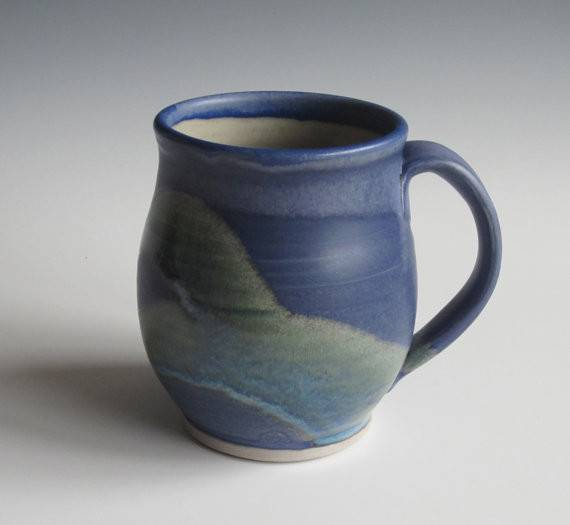 Stoneware Mug Coffee Tea Handmade Pottery Blue Kitchen