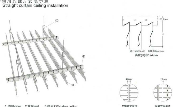 Straight Curtain Ceiling Installation Drawings
