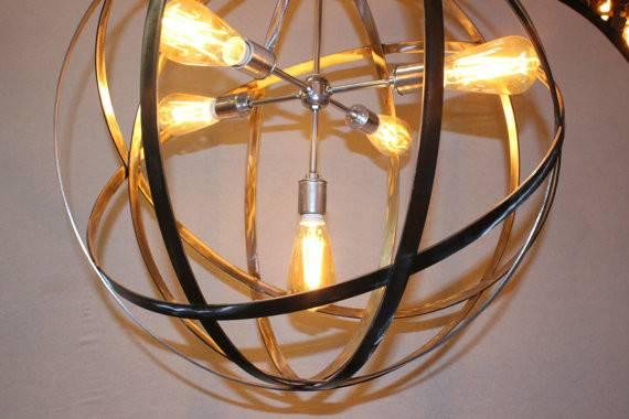 Strap Light Sockets Wine Barrel Orb Chandelier Hanging Sphere