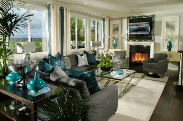 Stunning Contemporary Living Room Exquisite Turquoise