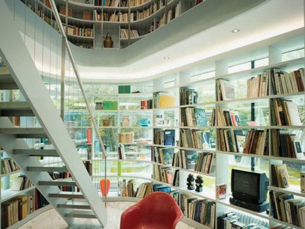 Stunning Home Library Surrounds Books Stand Alone Wooden