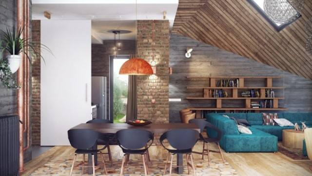 Stylish Industrial Loft Design Wood Brick Concrete Digsdigs