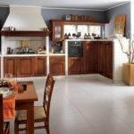 Stylish Wooden Shelves Shape Classic Italian Kitchen